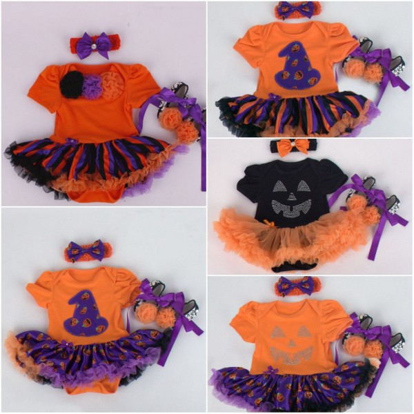 2017 Baby Girl Halloween Clothing Sets Pumpkin tutu Romper Dress+Shoes+Headband Infant 3pcs Set Toddler Jumpsuit Costumes baby girl infant 3pcs clothing sets tutu romper dress jumpersuit one or two yrs old bebe party birthday suit costumes vestidos