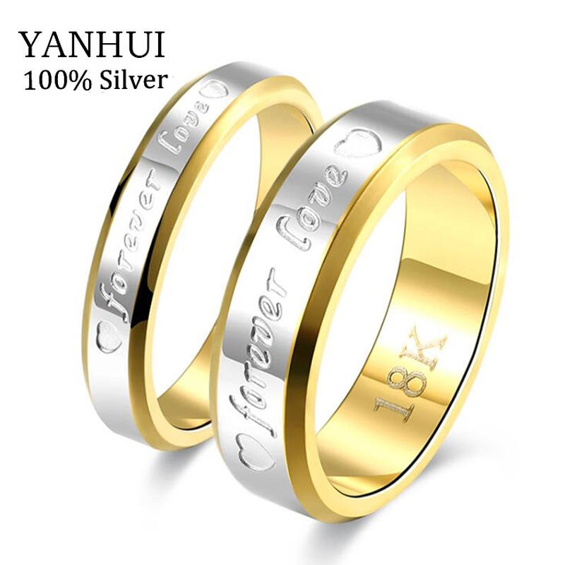 YANHUI Fine Jewelry Wedding Couple Rings Set For Lovers Real Silver Gold Filled Brand Engagement Rings for Men and Women JZR095