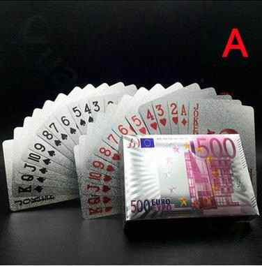 Euro US dollars Waterproof luck Playing Cards Gold Foil Poker Golden Dubai Poker Cards 24K Plated Poker Table Games