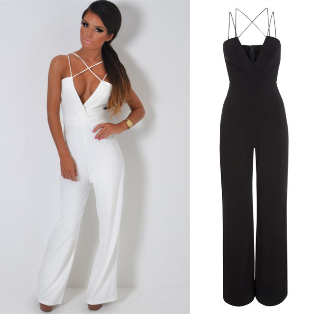 f3b132fd25e Stylish Overalls Sexy V Neck Halter Jumpsuit Rompers Womens Clothing  Evening Party Jumpsuit Fashion Straight Long Pants 4 Colors