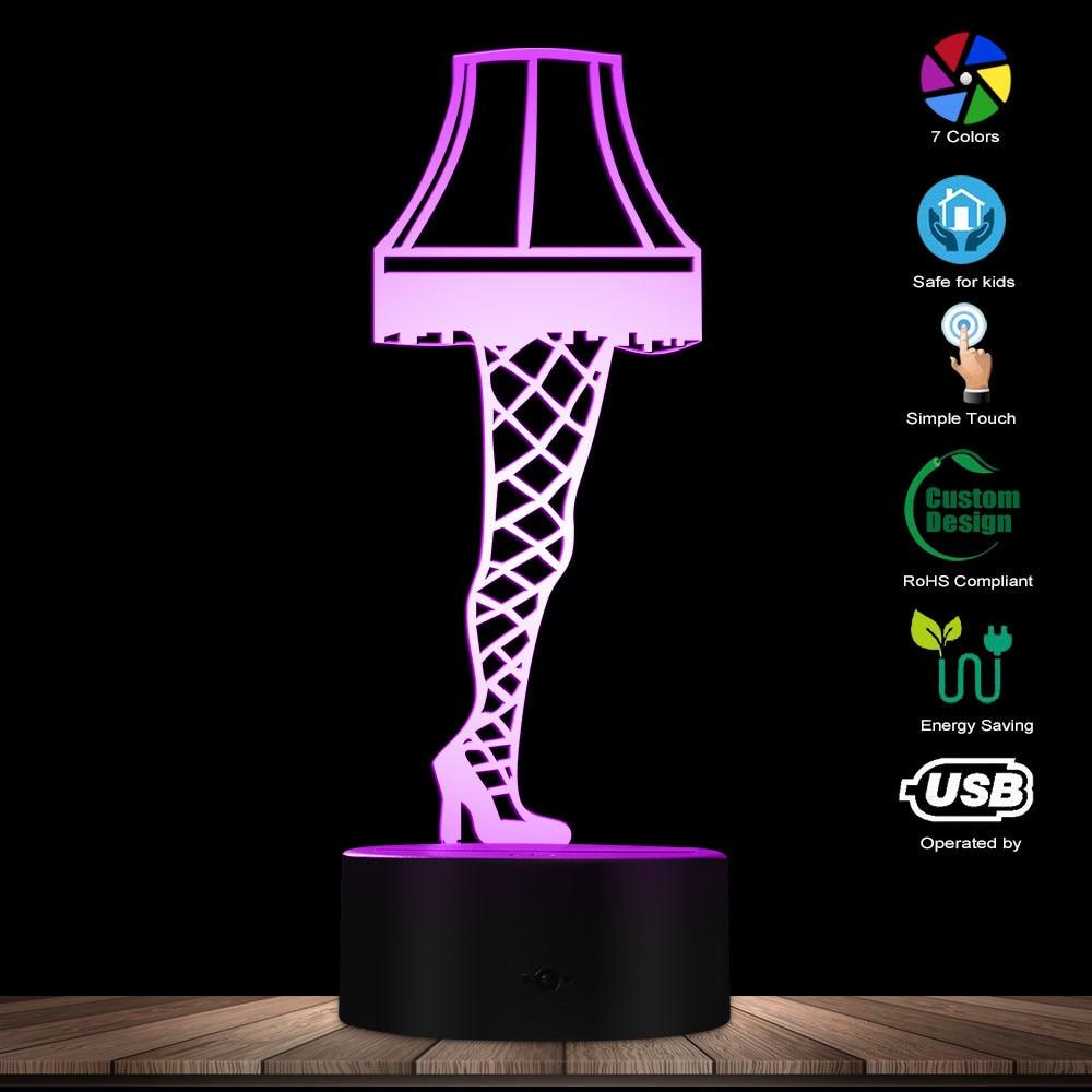 3D Optical illusion Leg Lamp From A Christmas Story Sexy Silk Stockings Leg Nightlight Table Lamp Glowing Led Visual Lamp Light