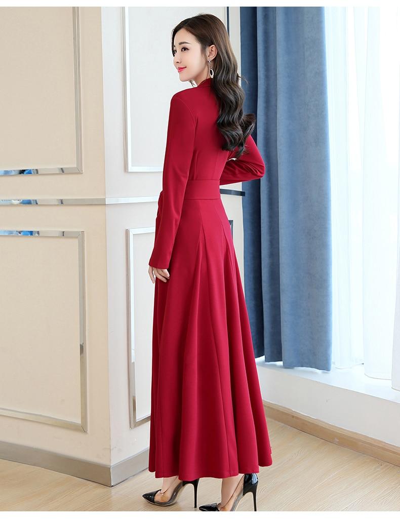 Spring and Autumn 2019 New Women's Dresses Korean Edition Long Sleeve Dresses Overlap Long Popular Temperament with Bottom 128