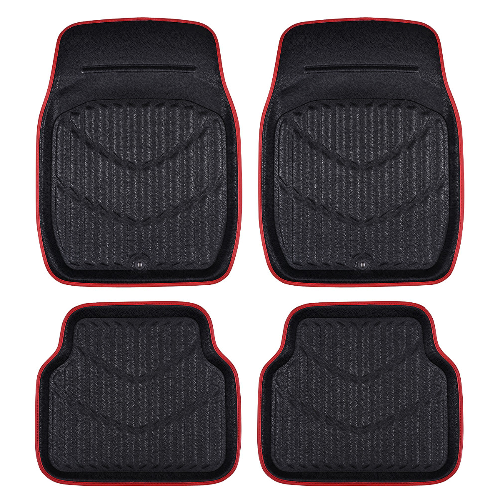 car pass universal car floor mats for auto anti slip mat red black car floor mats car styling. Black Bedroom Furniture Sets. Home Design Ideas