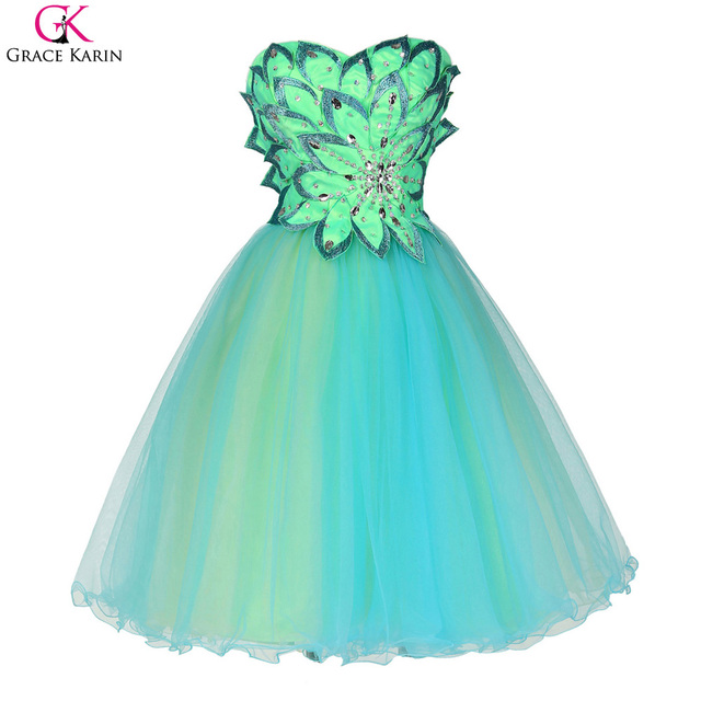 Grace Karin Cocktail Dresses 2017 Sweetheart Backless Prom Dress Party Dress Knee Length Turquoise Robe De Cocktail Gowns