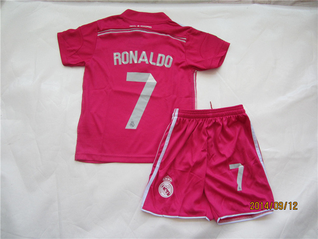 Cristiano Ronaldo  7 R Madrid Kids Jersey sets Away Pink Soccer Jerseys  Youth Kits Shirts   Shorts 8b1634124