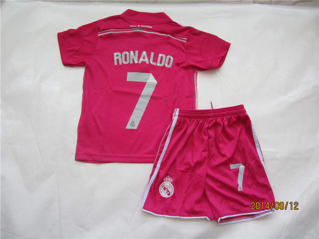 official photos 17c19 03d2b Cristiano Ronaldo #7 R Madrid Kids Jersey sets Away Pink ...