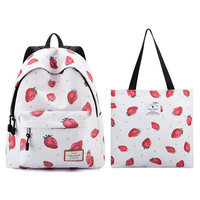 Forever Cultivate Strawberry Printed Backpack Middle School Girl Student School Bag Computer Backpack Large Capacity Travel