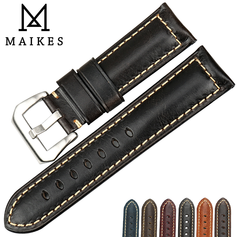 MAIKES watch accessories black 22mm 24mm 26mm watchband cow leather watch strap belt watch bracelet for brand watch band maikes 18mm 20mm 22mm watch belt accessories watchbands black genuine leather band watch strap watches bracelet for longines