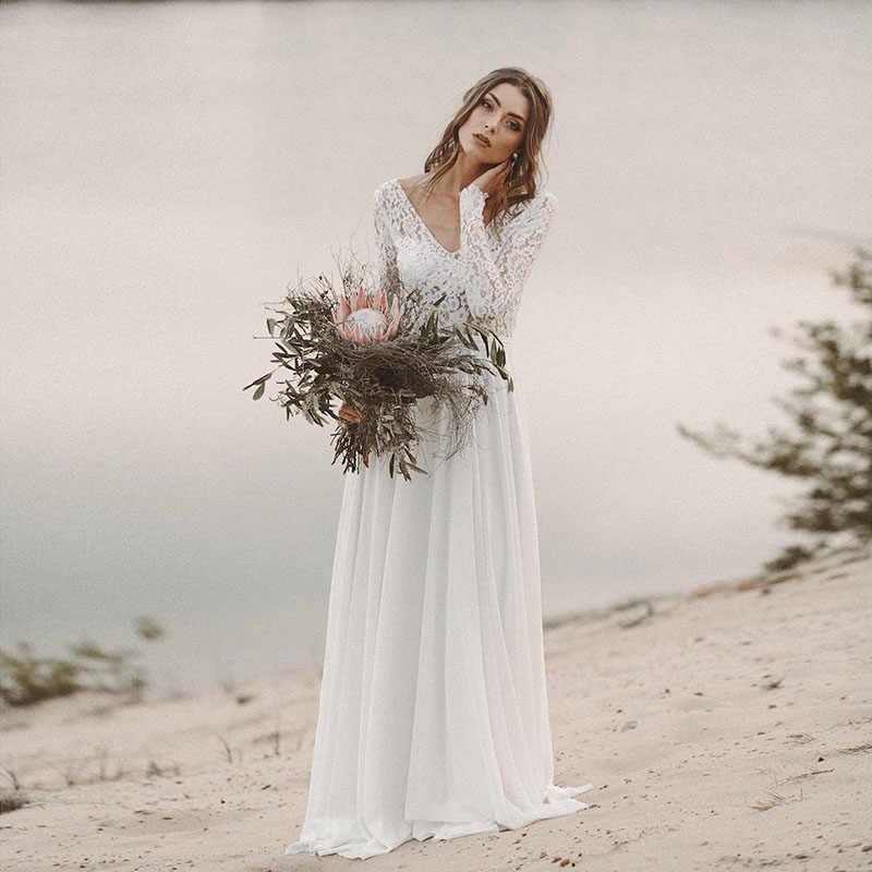 05e85b5670 ... LORIE Beach Wedding Dress Long Sleeve Boho V Neck Open Back bridal  dresses 2019 Chiffon Princess ...