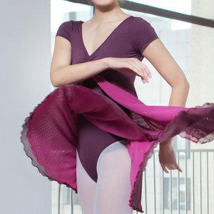 Image 3 - New Adult Contemporary Dance Ballet Dress Short Sleeve Leotards Woman Gymnastics Mesh Dancing Clothes Ballet Training Performanc