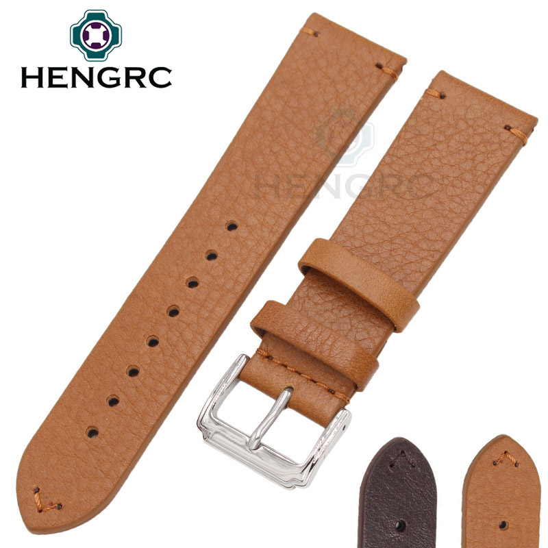 ФОТО HENGRC Watch Strap Wholesale 10pcs/set 18 20 22mm Hot Sell Women Genuine Cowhide Leather Handmade Watchbands Accessories