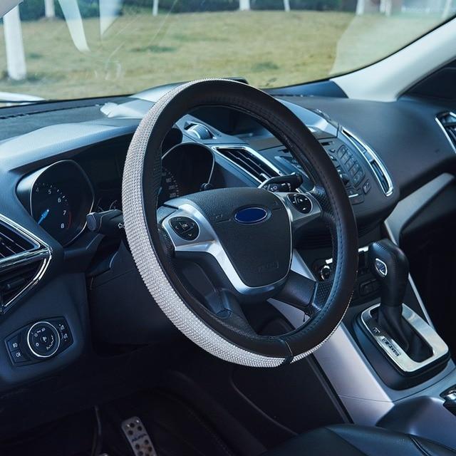 38CM Luxury Car Steering Wheel Cover for Women Girls Leather Crystal Rhinestone covered Steering-Wheel Covers