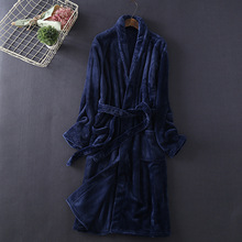 Winter Bathrobe Thick Dressing Gowns for Women Flannel Robe Mens Unisex Kimono Robes