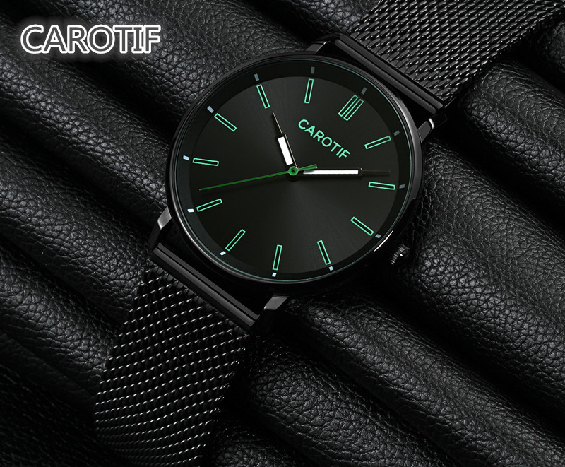 CAROTIF New Luxury Watch Men Brand Men's Watches relojes hombre Ultra Thin Steel Mesh Band Quartz Wristwatch Montre Homme