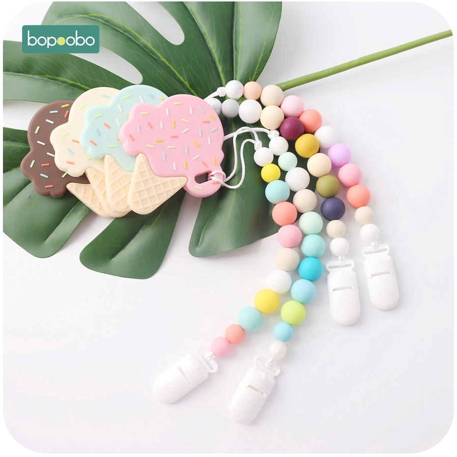 Bopoobo 1PC Baby Teether Pacifier Clips Baby Gift Food Grade Silicone Rodents Teether Bead BPA Free Baby Gift Toy Silicone Beads