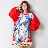 2017 Oversized Tshirt Women Autumn Winter Fashion 3D Unicorn Print Big Size Top Creative Design Lantern
