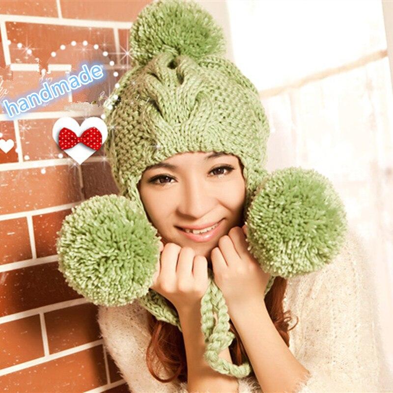 BomHCS New Women s Thick Cable Handmade Knit Beanie Ear Muff Warm ... 1a45a9b66ec5