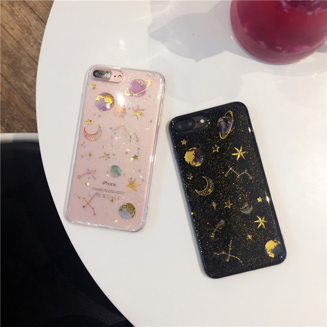 Star And Moon Glitter - Clear Transparent Case 1