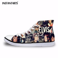 INSTANTARTS Elvis Pattern Men's Vulcanize Shoes Superstar Classic High Top Canvas Shoes for Boys Man Lacing Sneakers Shoes Flats