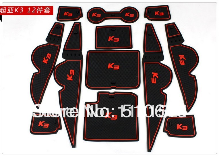 2013 2014 KIA Forte/Cerato/K3 Gate Slot Pad Rubber Car-Cup Mats/Pads Non-Slip Mat Car Accessories 1bngy - racing shop store