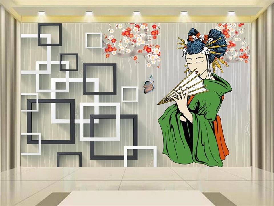 Us 1504 50 Off3d Wallpaper Photo Wallpaper Custom Mural Living Room Japanese Kimono Beauty Box Painting Tv Background Wall Non Woven Sticker In