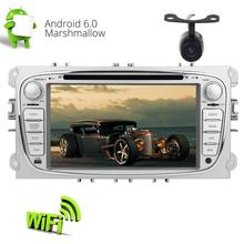 "Backup Camera+2 Din Car Stereo Android 6.0 7"" Car DVD Player for Ford Focus GPS Navigation Auto Radio WiFi/CANBUS/1080P Video"