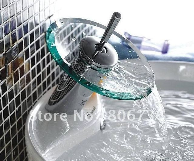 Bathroom waterfall glass basin faucet water tap transparent clear glass KF72001 free shipping
