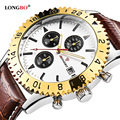 LONGBO Brand Luxury Casual Hollow Out Dial Unique Design Watches Leather Date Calendar Men Waterproof Wrist Watches Gift 3002