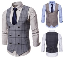 Vintage Brown tweed Vests British style  Mens suit tailor slim fit Blazer wedding suits for men