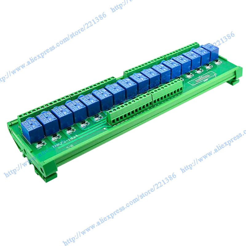 16 channels 24V 10A Relay Module driver board output amplifier board PLC board DIN rail relay