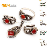 Antiqued Silver Ring Earrings Pendant Jewelry Sets For Women Selectable Color Love Agates Beads Jewellery Set Free Shipping Gem