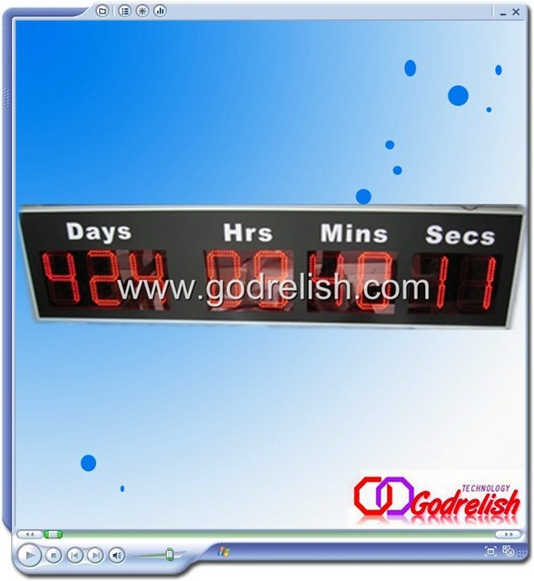 large day led countdown clock with printing white character day hour minute second