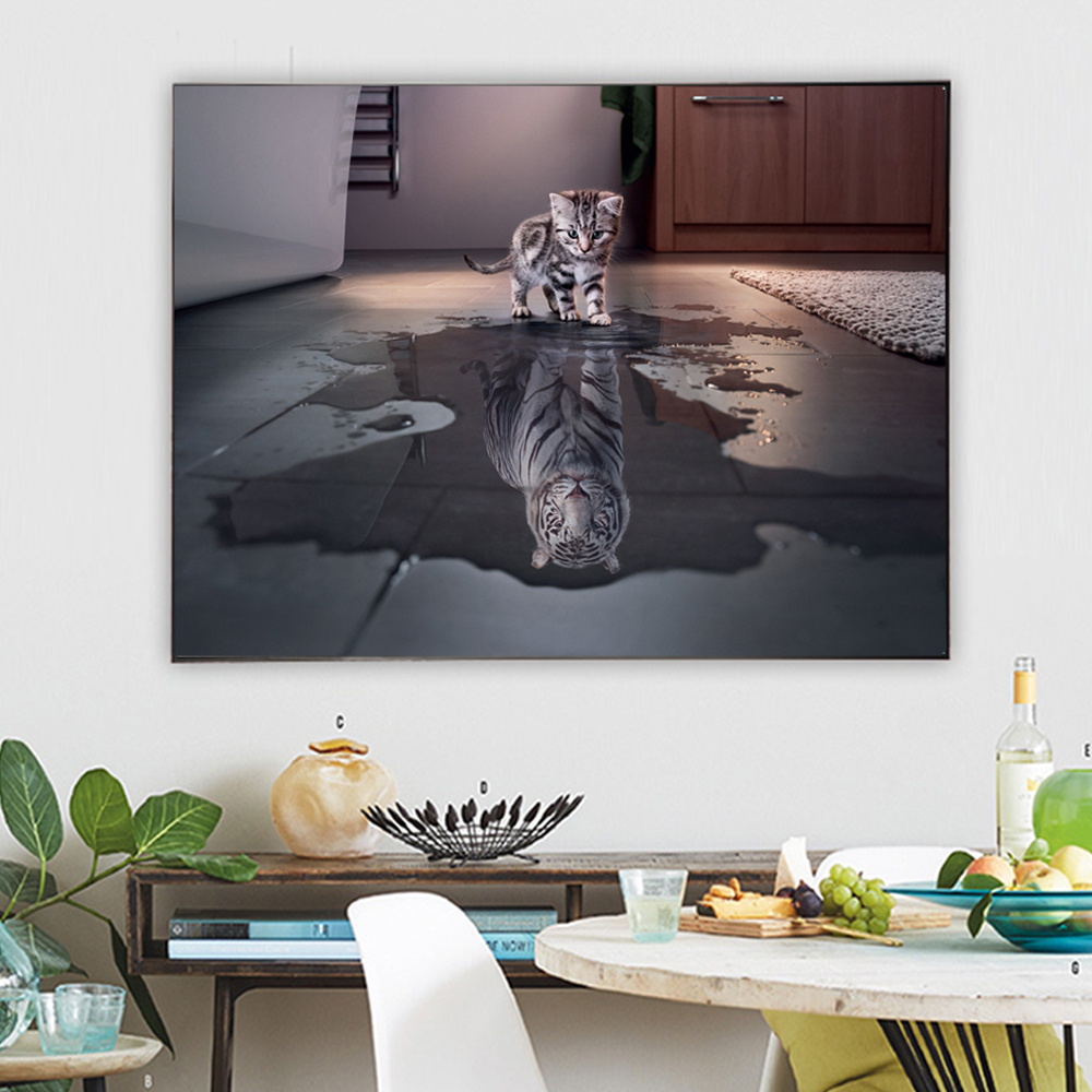 CHENFART Poster Cartoon Animal Wall Art Canvas Cat Oil Painting Print Picture Living Room Baby Home Decor