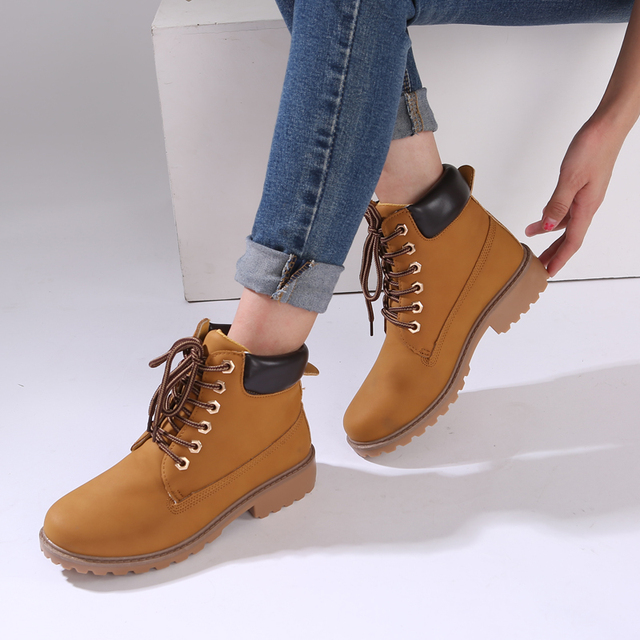 ad86f54a675 Aliexpress.com : Buy Teahoo 2017 Autumn Ankle Boots for Women Lace up  Nubuck Leather Martin Boots Fashion Round Toe Timber Boots Women Plus Size  9 10 ...