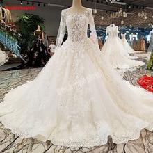 00297 Elegant Long Sleeve Muslim Wedding Gown Dress