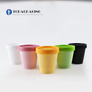 Image 1 - 50PCS*200G Cream Jar Empty Cosmetic Container PP Plastic Packing Sample Refillable Canister Facial Tins Pot Cans Screw Cap Inner
