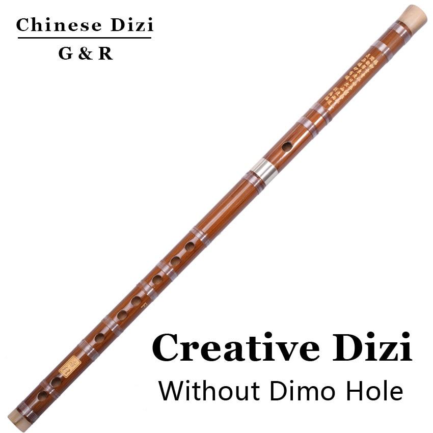 Chino Dizi Flauta De Bambú de Dos Secciones Sin Membrana Agujero Transversal Ins