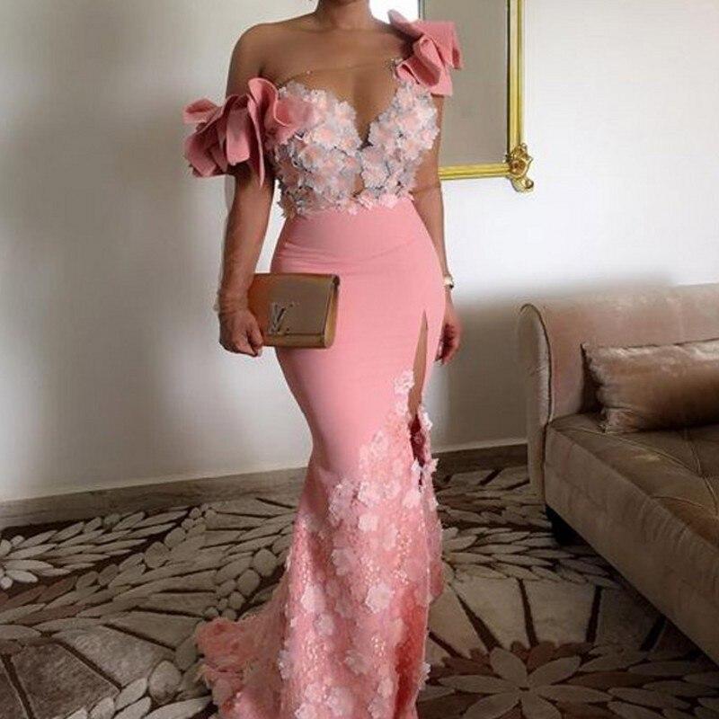 Élégant Floral africain robes De soirée à manches longues une épaule rose sirène arabe robes De bal Dubai côté fente Robe De soirée