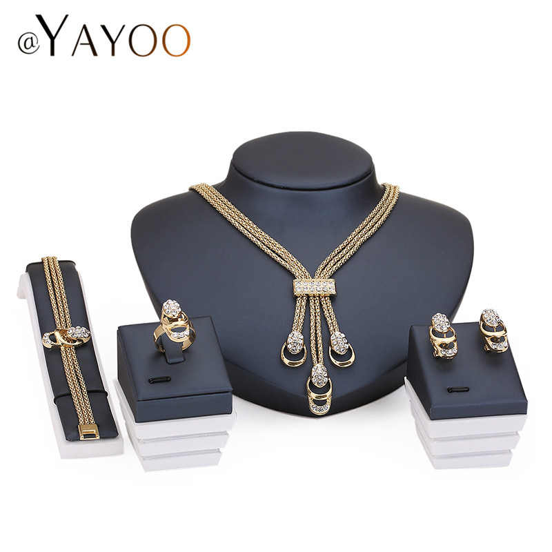 Jewelry Sets For Women Party Accessories Tassel Pendant Statement African Beads Crystal Necklace Earrings Bracelet Rings set