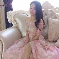 2017 Summer Short Sleeve Women S Chiffon Silk Dress Fashion Printed Princess Pink Long Dresses Beach