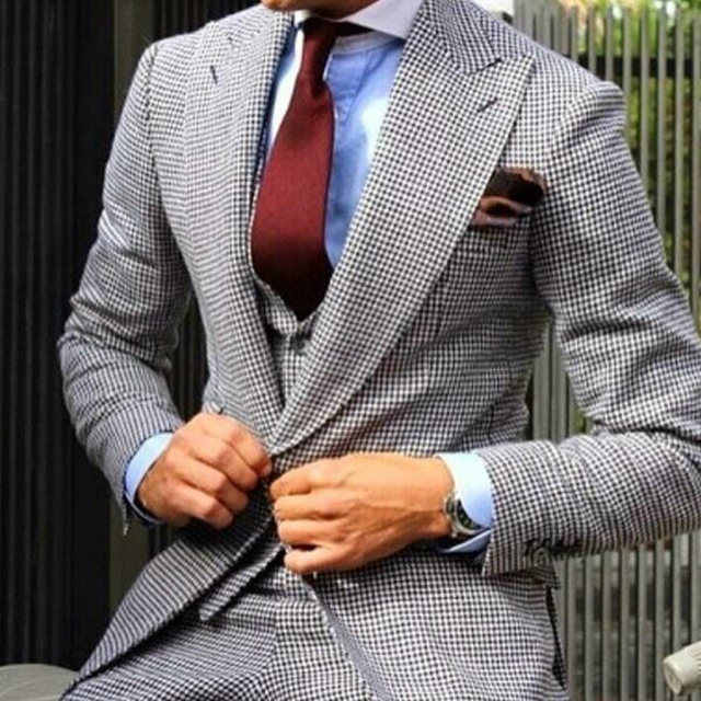 New Fashion Tailor Made Plaid Men Suit Tuxedos Masculino 3Pieces(Jacket+Pants+Vest+Tie) Man Wedding Suits Casual Business Dress(China)