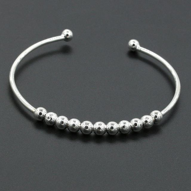 Round Bead Bangle Silver Color Balls Charms Cuff Bracelet Open