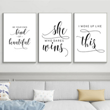Motivational Quotes Posters Prints Minimalist Black and White Simple Canvas Quote Wall Art Painting Picture Room Home Decoration