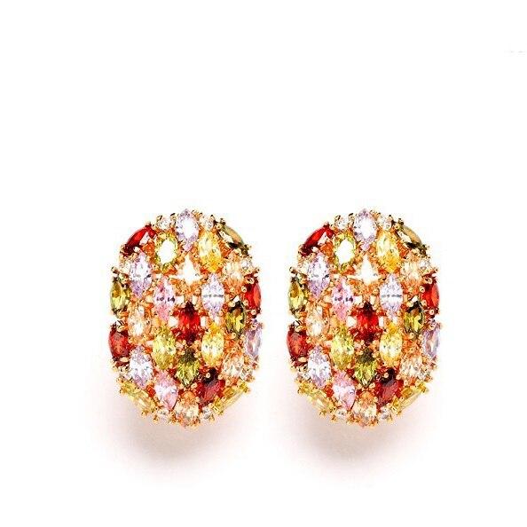 LUOTEEMI, модные женские серьги-гвоздики в форме яйца цвета шампанского золотого цвета с разноцветным циркониевым камнем для девочек, ювелирные изделия на день рождения - Окраска металла: Multi Color