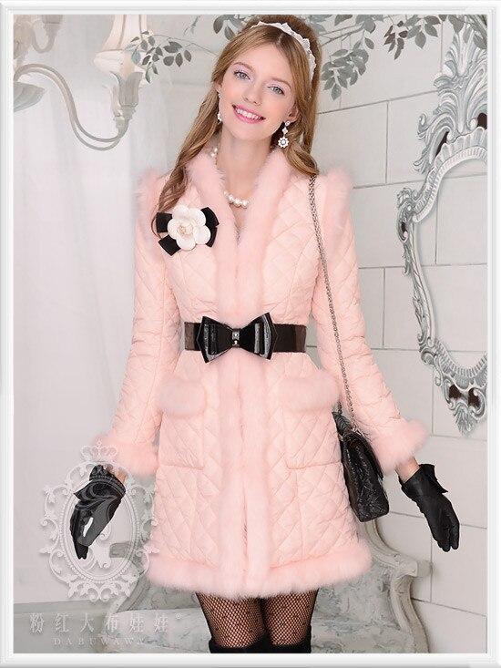 Parka D'origine Gros Mode Femmes Hiver Col Veste Pink En Mignon Long V Mince BgqnRF