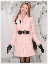 dabuwawa women parka fashion slim cute v collar cute long winter jacket pink doll