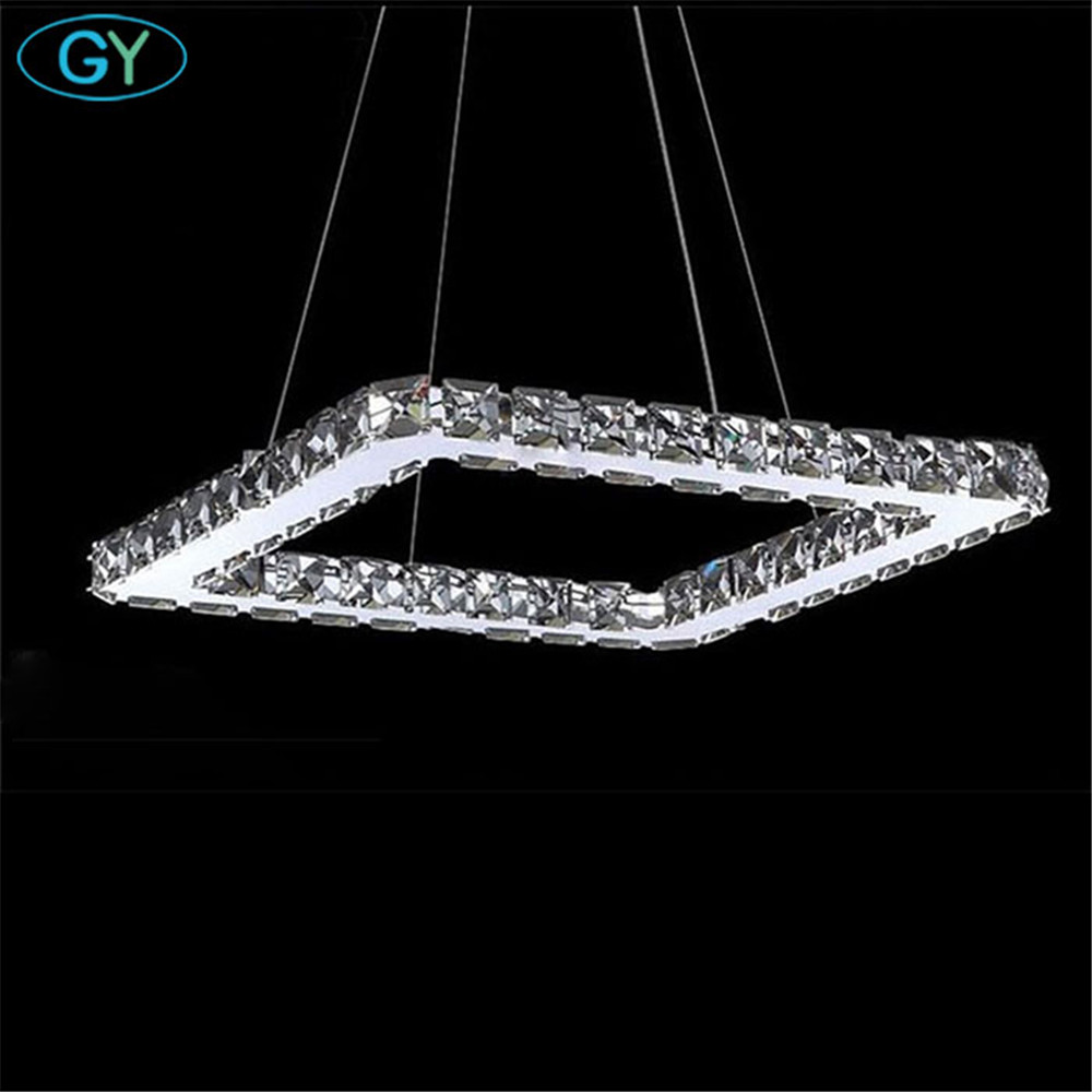 AC100-240V 20/40/60/80cm Squre LED Pendant lights Modern Crystal Lampshade Lustres hanging lamparas colgantes luminaire New 4 circles 20 40 60 80cm k9 crystal