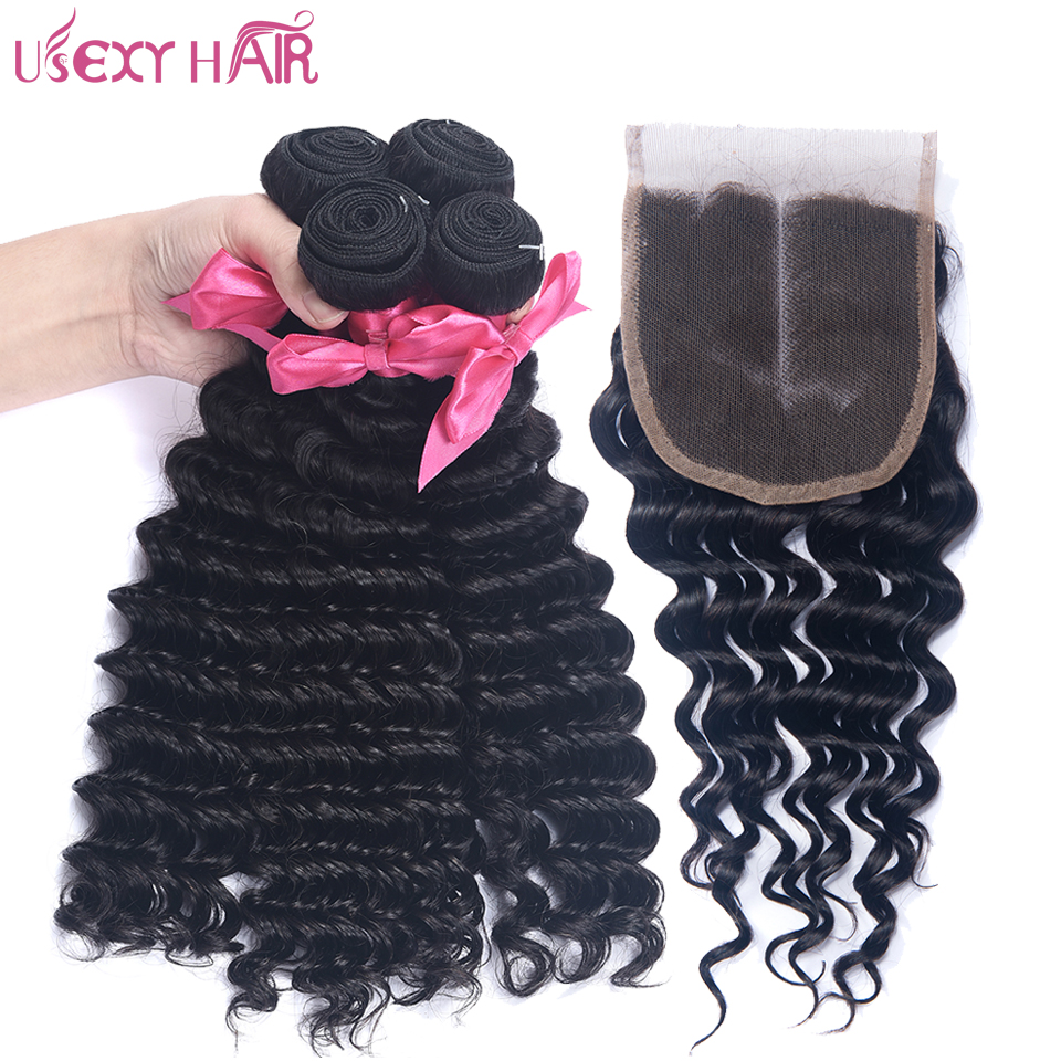 USEXY HAIR Indian Lace Closure Middle/Free Part With Deep Wave Human Hair 3 Bundles Hair Weave Non Remy Hair Free Shipping