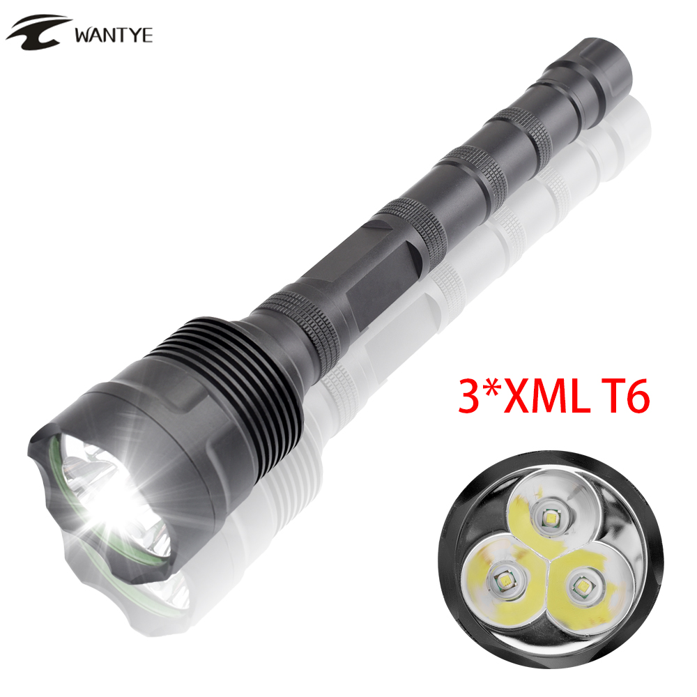 WANTYE Powerful 3600LM 3x XML T6 LED Police Flashlight 18650 Waterproof 5 Mode Outdoor Hunting Tactical Flash Light Torch Light фонарик 5 3000lm 3 x xml t6 1 x 18650