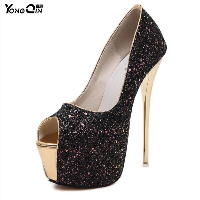 Sexy verkleuring pailletten vrouwen pompen 16 cm hoge hakken vrouwen schoenen eenvoudige fijne hakken damesschoenen 3 kleuren maat 34-40